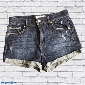 Garage Retro High Waist Stretch Denim Shorts